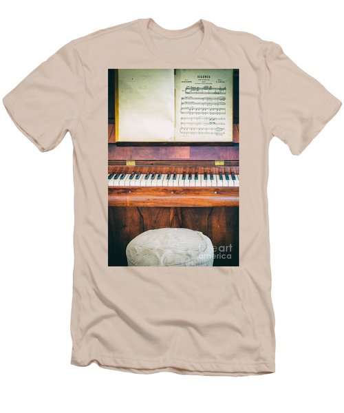 Men's T-Shirt (Slim Fit) featuring the photograph Antique Piano And Music Sheet by Silvia Ganora