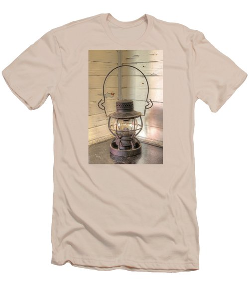 Men's T-Shirt (Slim Fit) featuring the photograph Antique Weighted Kerosene Lantern by Gary Slawsky