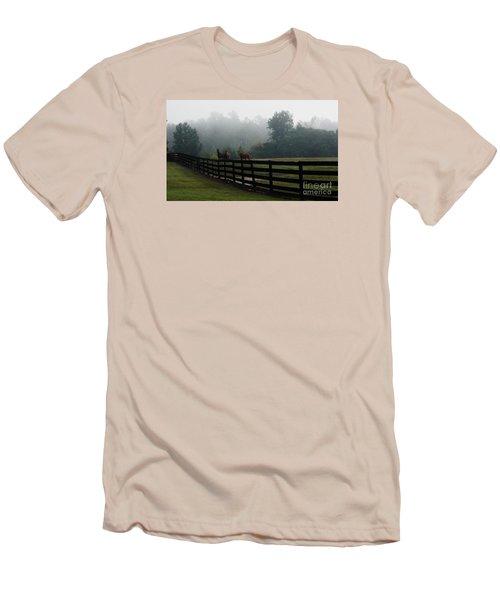 Men's T-Shirt (Slim Fit) featuring the painting Arabian Horse Landscape by Debra Crank
