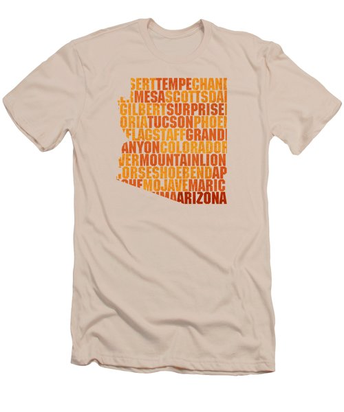 Arizona State Outline Word Map Men's T-Shirt (Slim Fit) by Design Turnpike