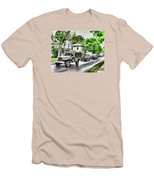 Army Jeeps On Parade Men's T-Shirt (Slim Fit) by Rena Trepanier