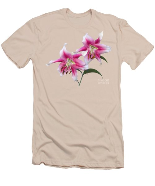 Pink And White Ot Lilies Men's T-Shirt (Slim Fit) by Jane McIlroy