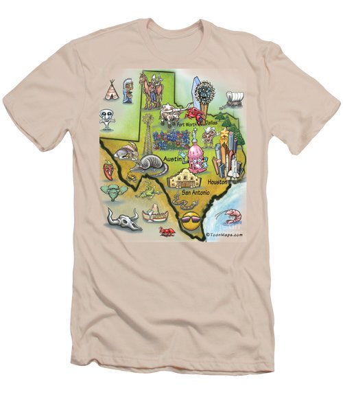 Texas Cartoon Map Men's T-Shirt (Slim Fit) by Kevin Middleton