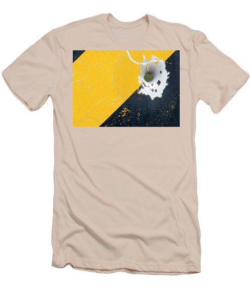 Bullet Hole On The Yellow Black Line Men's T-Shirt (Athletic Fit)