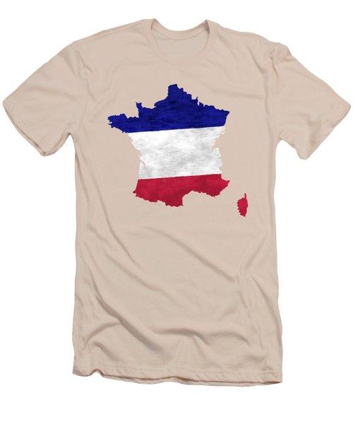 France Map Art With Flag Design Men's T-Shirt (Athletic Fit)
