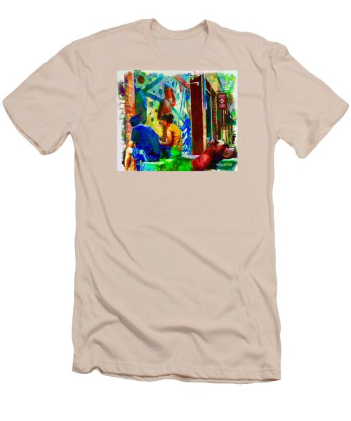 Men's T-Shirt (Slim Fit) featuring the painting Ashville Art District by Ted Azriel