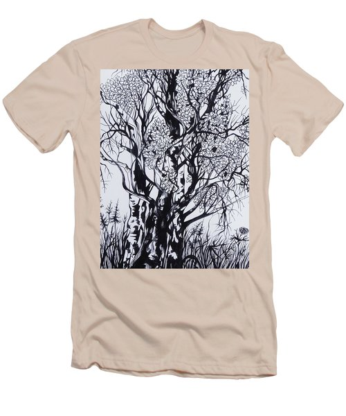 Men's T-Shirt (Slim Fit) featuring the drawing Aspens by Anna  Duyunova