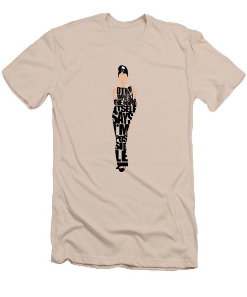 Audrey Hepburn Typography Poster Men's T-Shirt (Athletic Fit)