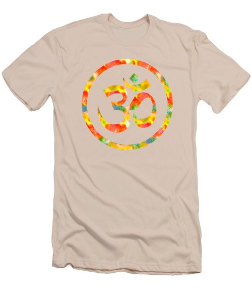 Men's T-Shirt (Slim Fit) featuring the painting Aum Symbol Abstract Digital Painting by Georgeta Blanaru
