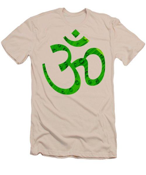 Men's T-Shirt (Slim Fit) featuring the painting Aum Symbol Digital Painting by Georgeta Blanaru