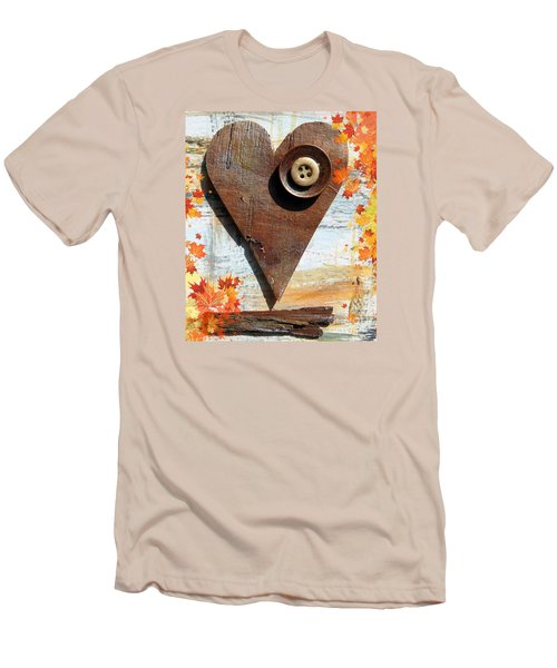 Men's T-Shirt (Slim Fit) featuring the painting Autumn Heart by France Laliberte