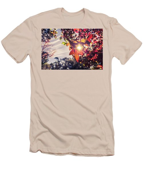 Men's T-Shirt (Athletic Fit) featuring the photograph Autumn Sky And Colorful Leaves In Fall Season With Sun Shine On  by Jingjits Photography