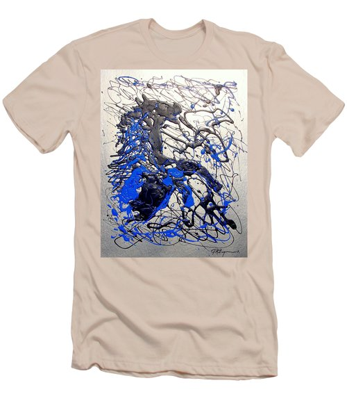 Men's T-Shirt (Slim Fit) featuring the painting Azul Diablo by J R Seymour
