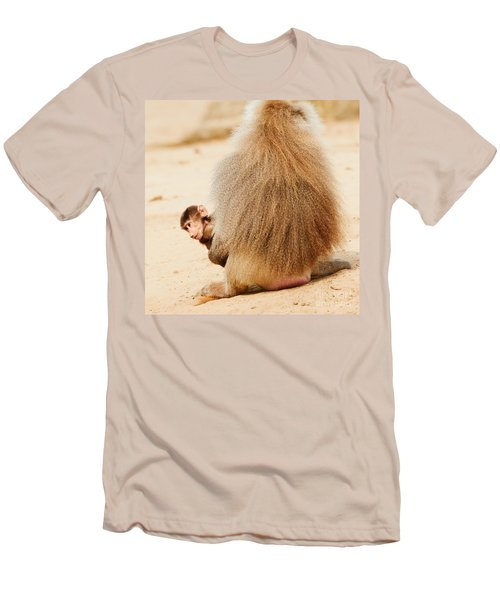 Baboon With A Baby  Men's T-Shirt (Athletic Fit)