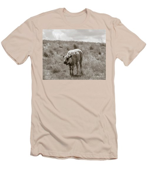 Men's T-Shirt (Slim Fit) featuring the photograph Baby Buffalo In Field With Sky by Rebecca Margraf
