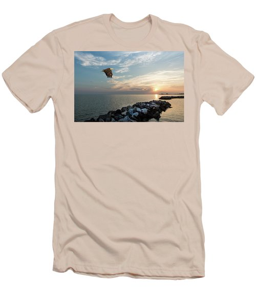 Bald Eagle Flying Over A Jetty At Sunset Men's T-Shirt (Athletic Fit)