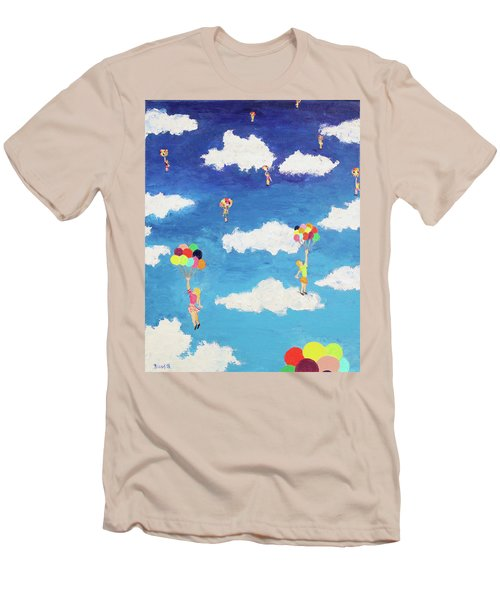 Men's T-Shirt (Slim Fit) featuring the painting Balloon Girls by Thomas Blood