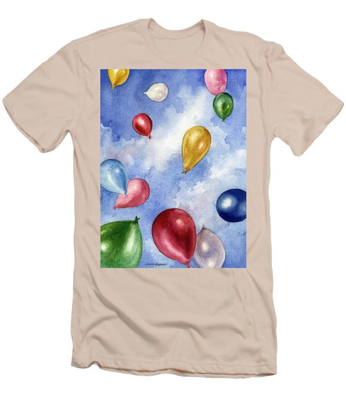 Men's T-Shirt (Slim Fit) featuring the painting Balloons In Flight by Anne Gifford