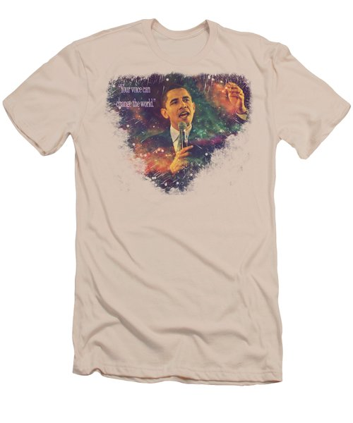 Men's T-Shirt (Slim Fit) featuring the painting Barack Obama Quote Digital Cosmic Artwork by Georgeta Blanaru
