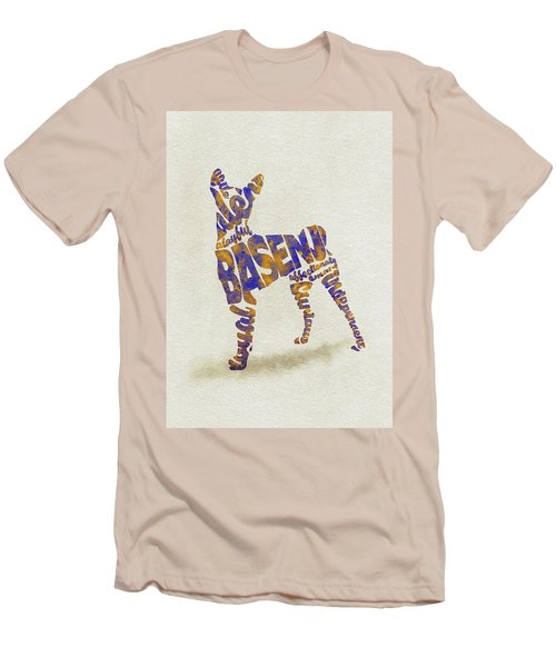 Men's T-Shirt (Athletic Fit) featuring the painting Basenji Dog Watercolor Painting / Typographic Art by Inspirowl Design