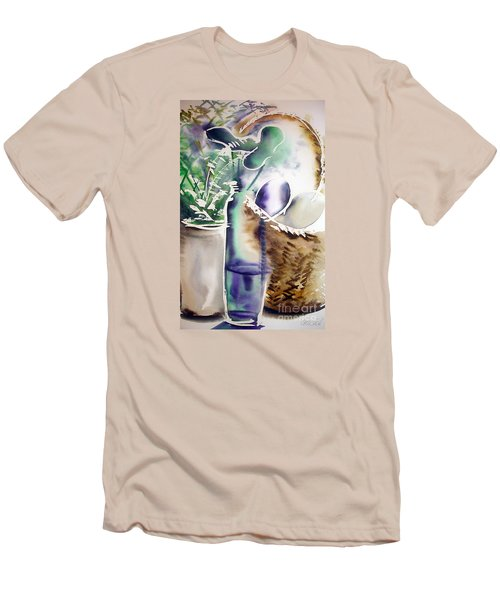 Men's T-Shirt (Slim Fit) featuring the painting Basket And Bottle by Allison Ashton