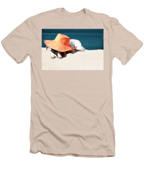 Men's T-Shirt (Slim Fit) featuring the photograph Beach Day For Bubba by Shelley Neff