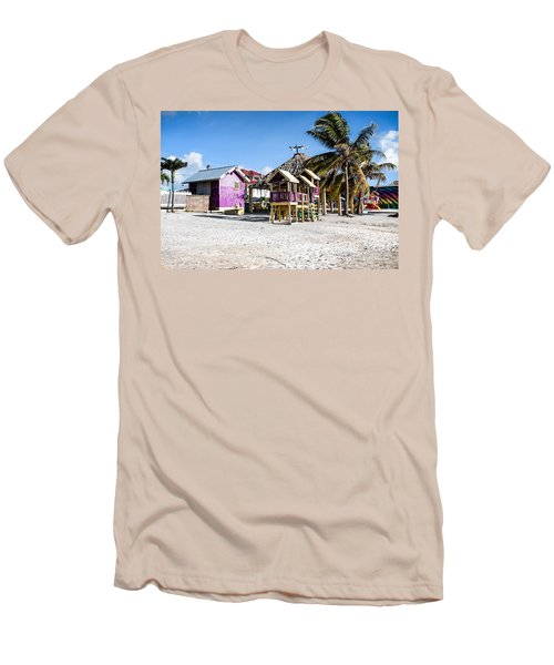 Men's T-Shirt (Slim Fit) featuring the photograph Beach Huts by Lawrence Burry