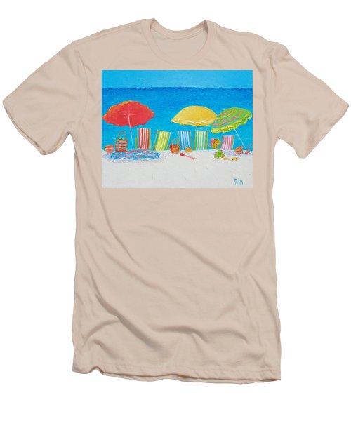 Beach Painting - Deck Chairs Men's T-Shirt (Slim Fit) by Jan Matson