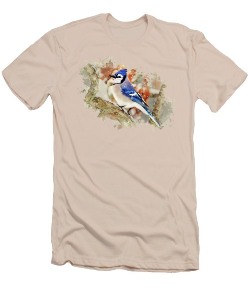Beautiful Blue Jay - Watercolor Art Men's T-Shirt (Slim Fit) by Christina Rollo