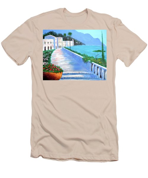 Men's T-Shirt (Slim Fit) featuring the painting Beauty Of The Riviera by Larry Cirigliano