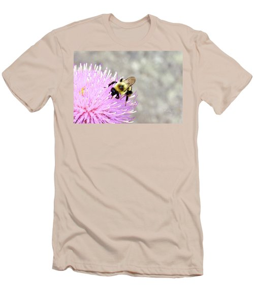 Men's T-Shirt (Slim Fit) featuring the photograph Bee On Pink Bull Thistle by Meta Gatschenberger