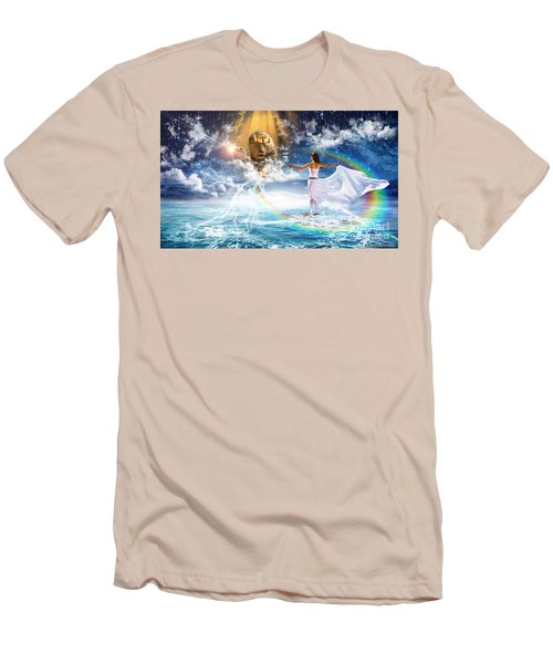 Men's T-Shirt (Slim Fit) featuring the digital art Behold, He Is Coming  by Dolores Develde