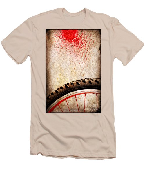 Bike Wheel Red Spray Men's T-Shirt (Slim Fit) by Silvia Ganora