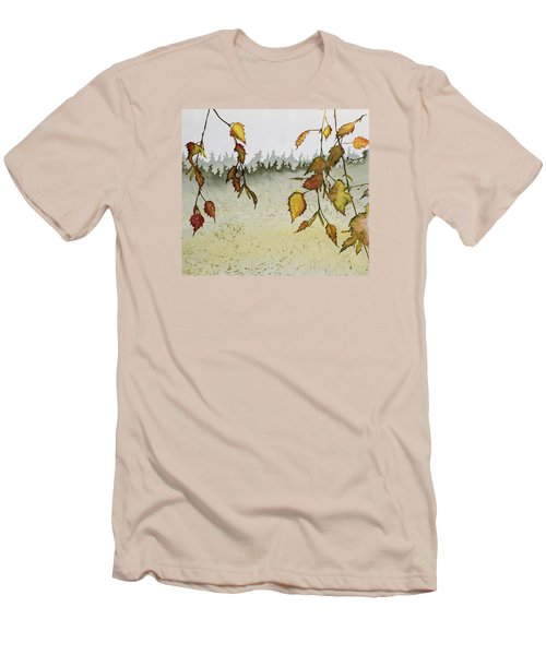 Birch In Autumn Men's T-Shirt (Slim Fit) by Carolyn Doe