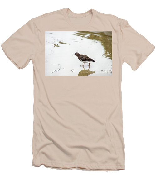 Men's T-Shirt (Slim Fit) featuring the photograph Bird Walking On Beach by Mariola Bitner