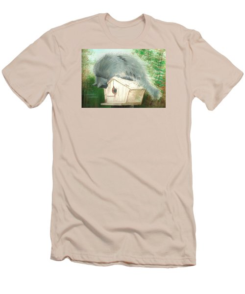 Men's T-Shirt (Slim Fit) featuring the painting Birdie In The Hole by Denise Fulmer