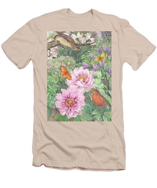 Birds Peony Garden Illustration Men's T-Shirt (Athletic Fit)