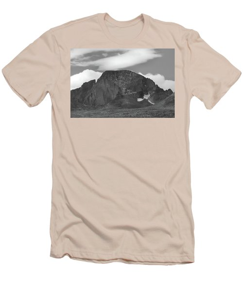 Men's T-Shirt (Slim Fit) featuring the photograph Black And White Longs Peak Detail by Dan Sproul