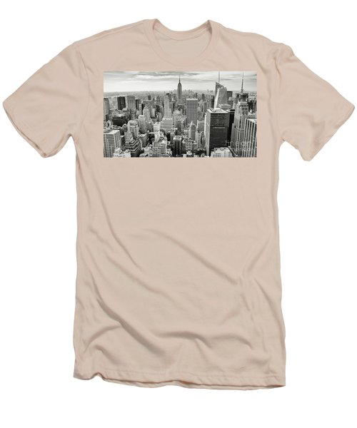 Men's T-Shirt (Slim Fit) featuring the photograph Black And White Skyline by MGL Meiklejohn Graphics Licensing