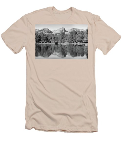 Men's T-Shirt (Slim Fit) featuring the photograph Black And White Sprague Lake Reflection by Dan Sproul