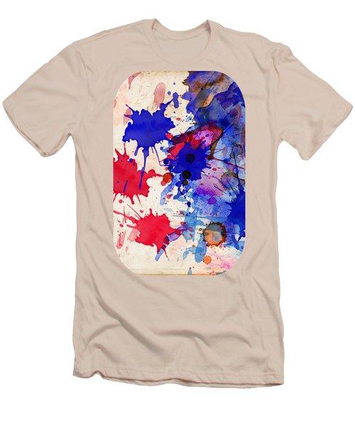Blue And Red Color Splash Men's T-Shirt (Athletic Fit)