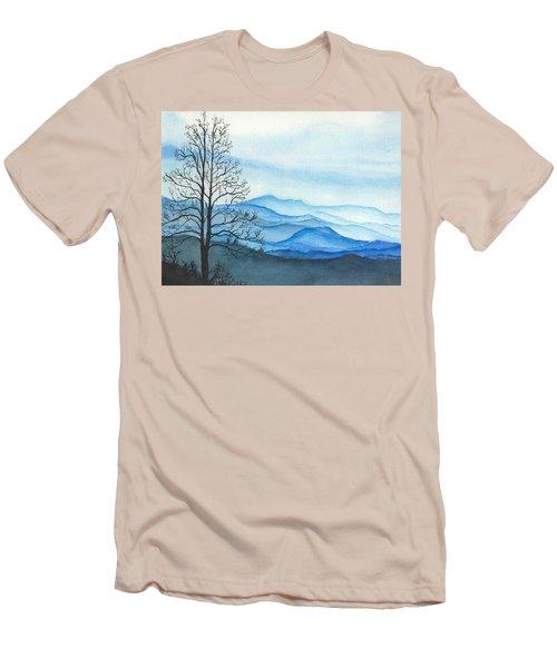 Men's T-Shirt (Slim Fit) featuring the painting Blue Calm by Rachel Hames