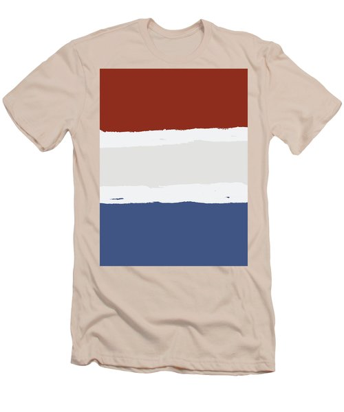 Blue Cream Red Stripes Men's T-Shirt (Slim Fit) by P S