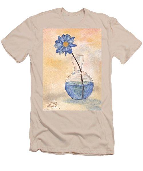 Blue Flower And Glass Vase Sketch Men's T-Shirt (Athletic Fit)