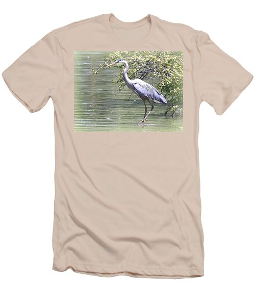 Men's T-Shirt (Slim Fit) featuring the photograph Blue Heron by Clarice  Lakota