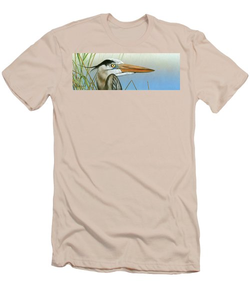 Blue Heron  Men's T-Shirt (Slim Fit) by Mike Brown