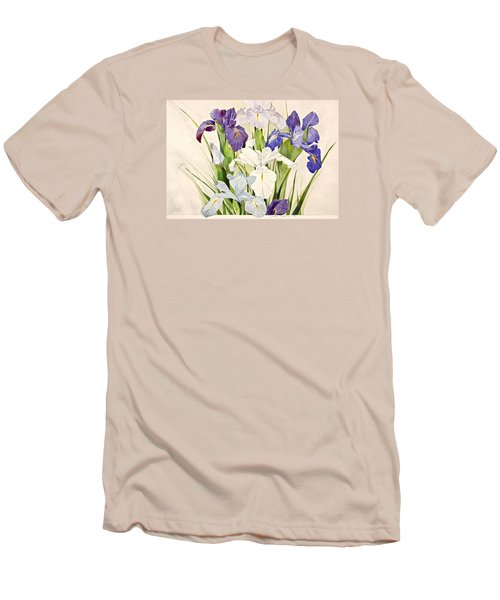 Blue Irises-posthumously Presented Paintings Of Sachi Spohn  Men's T-Shirt (Slim Fit) by Cliff Spohn