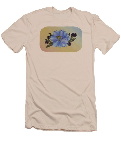 Blue Larkspur And Oregano Pressed Flower Arrangement Men's T-Shirt (Athletic Fit)