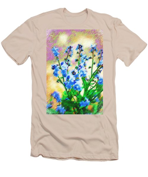 Men's T-Shirt (Slim Fit) featuring the photograph Blue Wildflowers by Donna Bentley