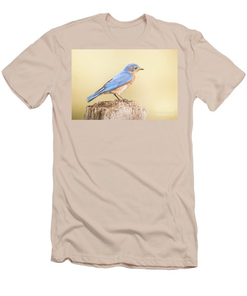 Men's T-Shirt (Slim Fit) featuring the photograph Bluebird On Fence Post by Robert Frederick